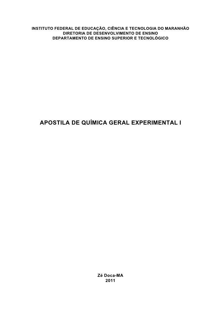 INSTITUTO FEDERAL DE EDUCAÇÃO, CIÊNCIA E TECNOLOGIA DO MARANHÃO             DIRETORIA DE DESENVOLVIMENTO DE ENSINO        ...