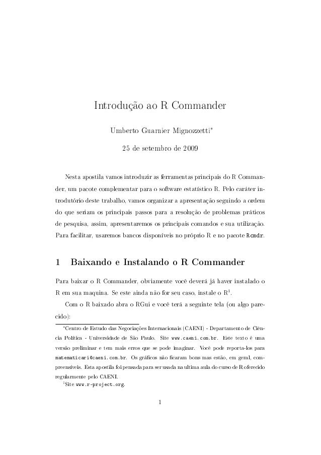 Introdução ao R Commander                         Umberto Guarnier Mignozzetti∗                              25 de setembr...