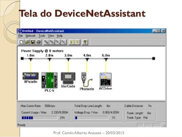 Tela do DeviceNetAssistant  Prof. Camilo Alberto Anauate – 20/05/2013