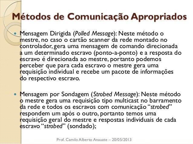 Métodos de Comunicação Apropriados  Mensagem Dirigida (Polled Message): Neste método o mestre, no caso o cartão scanner d...