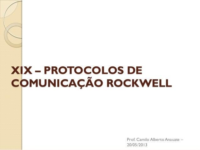XIX – PROTOCOLOS DE COMUNICAÇÃO ROCKWELL  Prof. Camilo Alberto Anauate – 20/05/2013