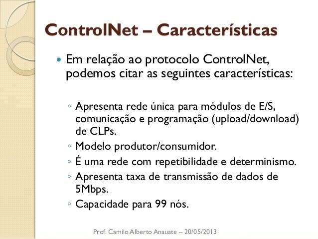 ControlNet – Características  Em relação ao protocolo ControlNet, podemos citar as seguintes características:  ◦Apresenta...