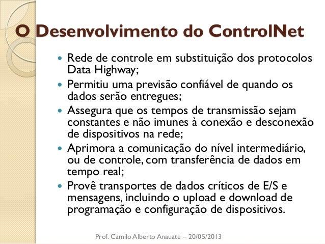 O Desenvolvimento do ControlNet  Rede de controle em substituição dos protocolos Data Highway;  Permitiu uma previsão co...