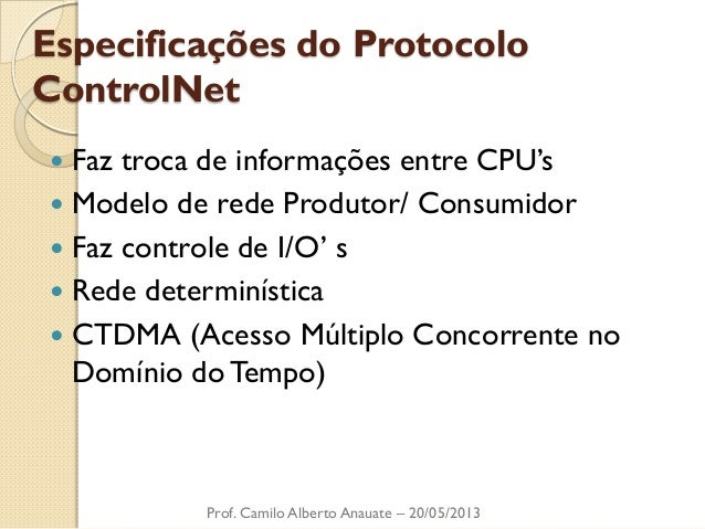 Especificações do Protocolo ControlNet  Faz troca de informações entre CPU's  Modelo de rede Produtor/ Consumidor  Faz ...