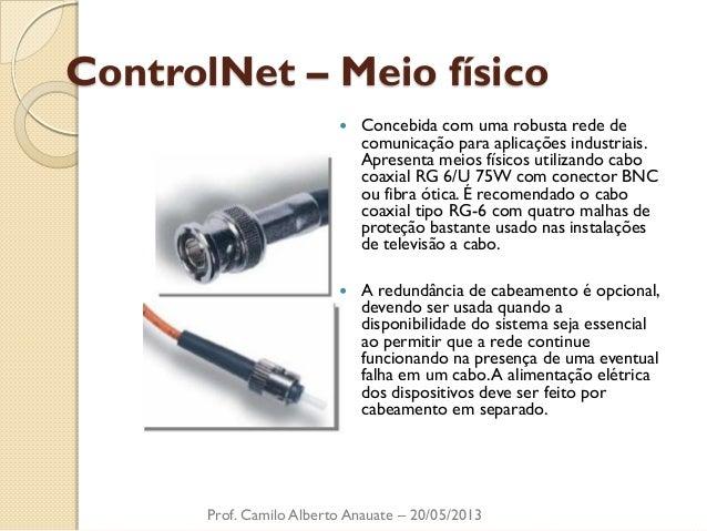 ControlNet – Meio físico  Concebida com uma robusta rede de comunicação para aplicações industriais. Apresenta meios físi...