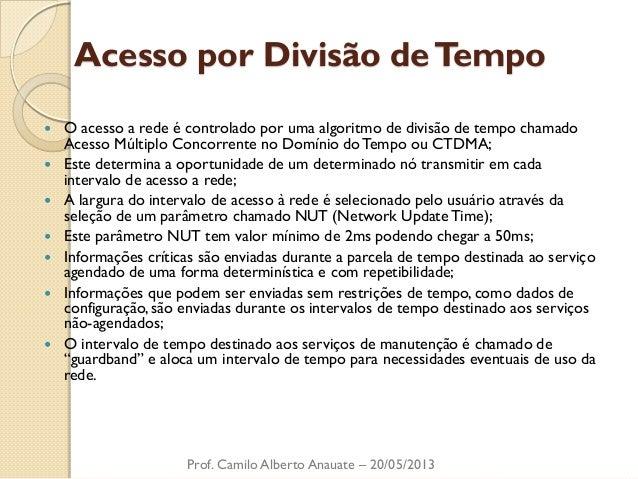 Acesso por Divisão de Tempo  O acesso a rede é controlado por uma algoritmo de divisão de tempo chamado Acesso Múltiplo C...