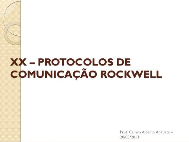 XX – PROTOCOLOS DE COMUNICAÇÃO ROCKWELL  Prof. Camilo Alberto Anauate – 20/05/2013