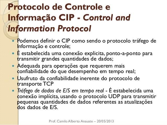 Protocolo de Controle e Informação CIP - Control and Information Protocol  Podemos definir o CIP como sendo o protocolo t...