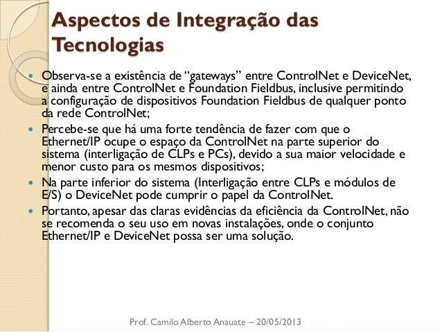 """Aspectos de Integração das Tecnologias  Observa-se a existência de """"gateways"""" entre ControlNet e DeviceNet, e ainda entre..."""