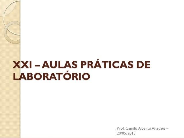 XXI – AULAS PRÁTICAS DE LABORATÓRIO  Prof. Camilo Alberto Anauate – 20/05/2013