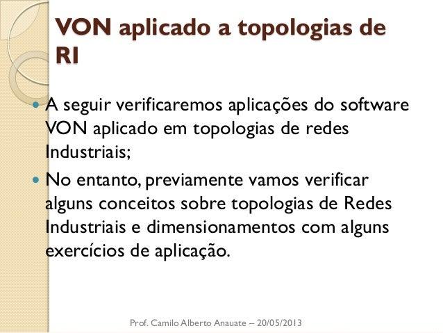 VON aplicado a topologias de RI  A seguir verificaremos aplicações do software VON aplicado em topologias de redes Indust...