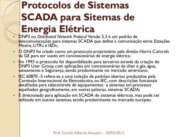 Protocolos de Sistemas SCADA para Sitemas de Energia Elétrica  DNP3 ou Distributed Network Protocol Versão 3.3 é um padrã...