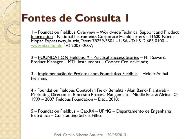 Fontes de Consulta 1  1 – Foundation Fieldbus Overview – Worldwide Technical Support and Product Information - National In...