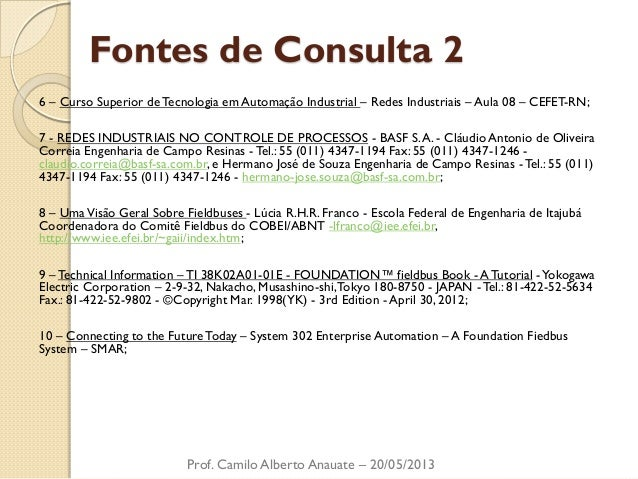 Fontes de Consulta 2  6 – Curso Superior de Tecnologia em Automação Industrial – Redes Industriais – Aula 08 – CEFET-RN;  ...