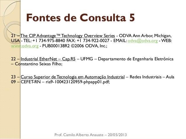 Fontes de Consulta 5  21 – The CIP Advantage™ Technology Overview Series - ODVA Ann Arbor, Michigan, USA - TEL: +1 734-975...