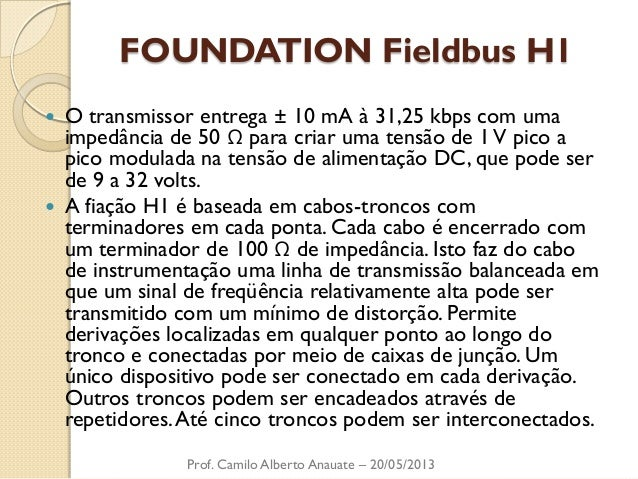 FOUNDATION Fieldbus H1  O transmissor entrega ± 10 mA à 31,25 kbps com uma impedância de 50 Ω para criar uma tensão de 1 ...