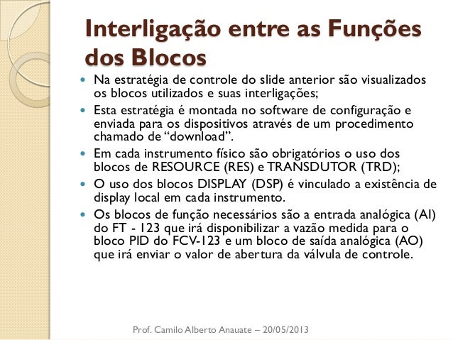 Interligação entre as Funções dos Blocos  Na estratégia de controle do slide anterior são visualizados os blocos utilizad...