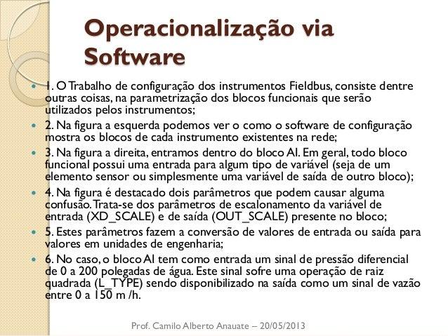 Operacionalização via Software  1. O Trabalho de configuração dos instrumentos Fieldbus, consiste dentre outras coisas, n...