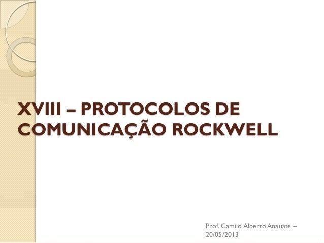 XVIII – PROTOCOLOS DE COMUNICAÇÃO ROCKWELL  Prof. Camilo Alberto Anauate – 20/05/2013