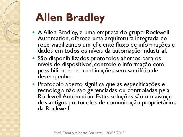 Allen Bradley  A Allen Bradley, é uma empresa do grupo Rockwell Automation, oferece uma arquitetura integrada de rede via...