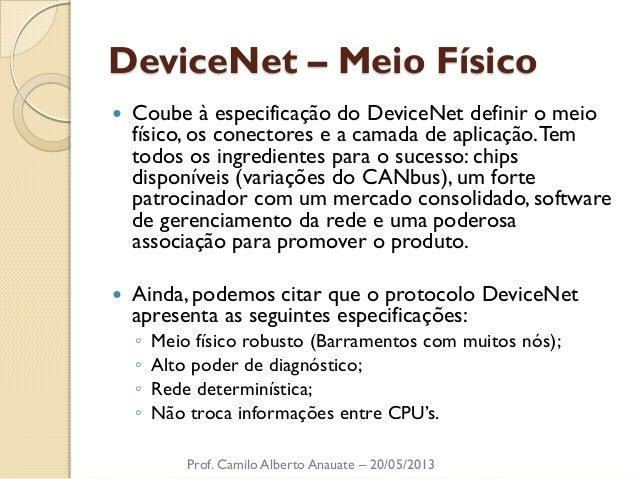 DeviceNet – Meio Físico  Coube à especificação do DeviceNet definir o meio físico, os conectores e a camada de aplicação....