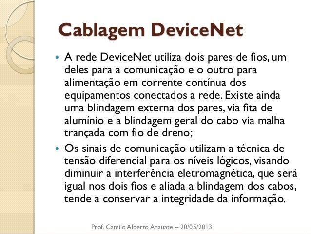 Cablagem DeviceNet  A rede DeviceNet utiliza dois pares de fios, um deles para a comunicação e o outro para alimentação e...
