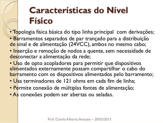 Características do Nível Físico  • Topologia física básica do tipo linha principal com derivações;  • Barramentos separado...