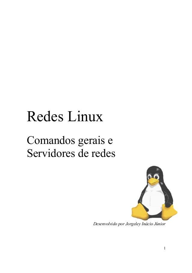 1 Redes Linux Comandos gerais e Servidores de redes Desenvolvido por Jorgeley Inácio Júnior