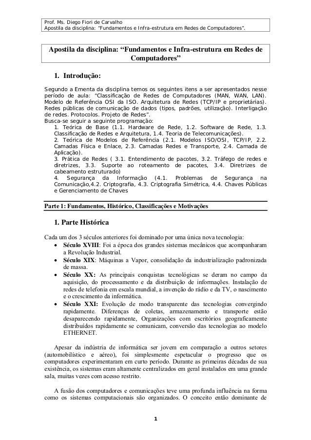 """Prof. Ms. Diego Fiori de Carvalho Apostila da disciplina: """"Fundamentos e Infra-estrutura em Redes de Computadores"""". 1 Apos..."""