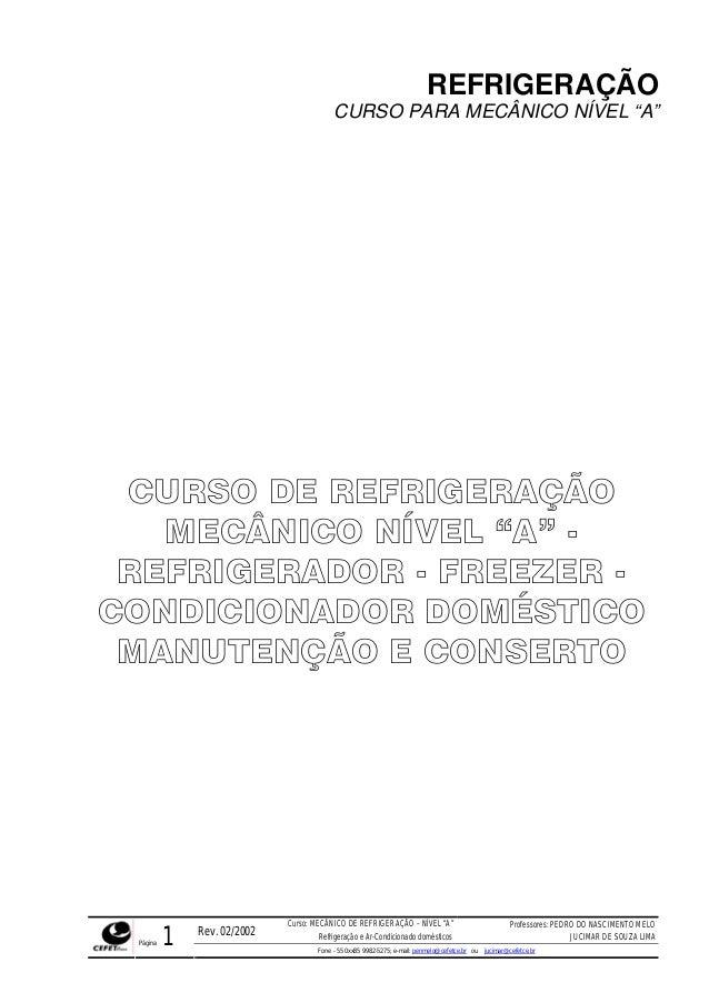 """REFRIGERAÇÃO                                         CURSO PARA MECÂNICO NÍVEL """"A"""" CURSO DE REFRIGERAÇÃO   MECÂNICO NÍVEL ..."""