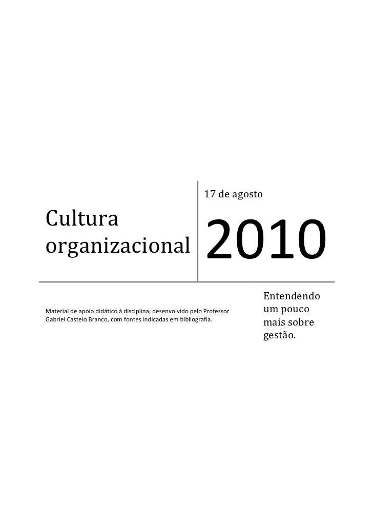 17 de agosto  Cultura organizacional                                            2010                                      ...