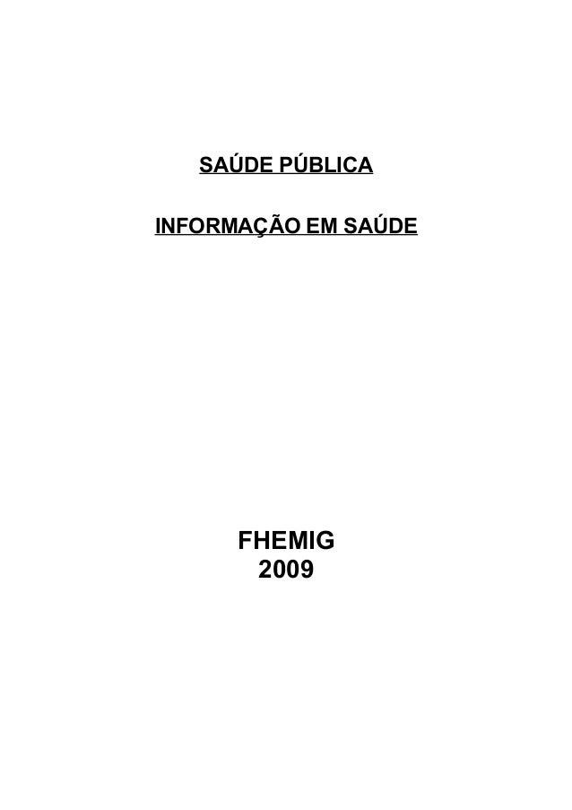 SAÚDE PÚBLICA INFORMAÇÃO EM SAÚDE  FHEMIG 2009