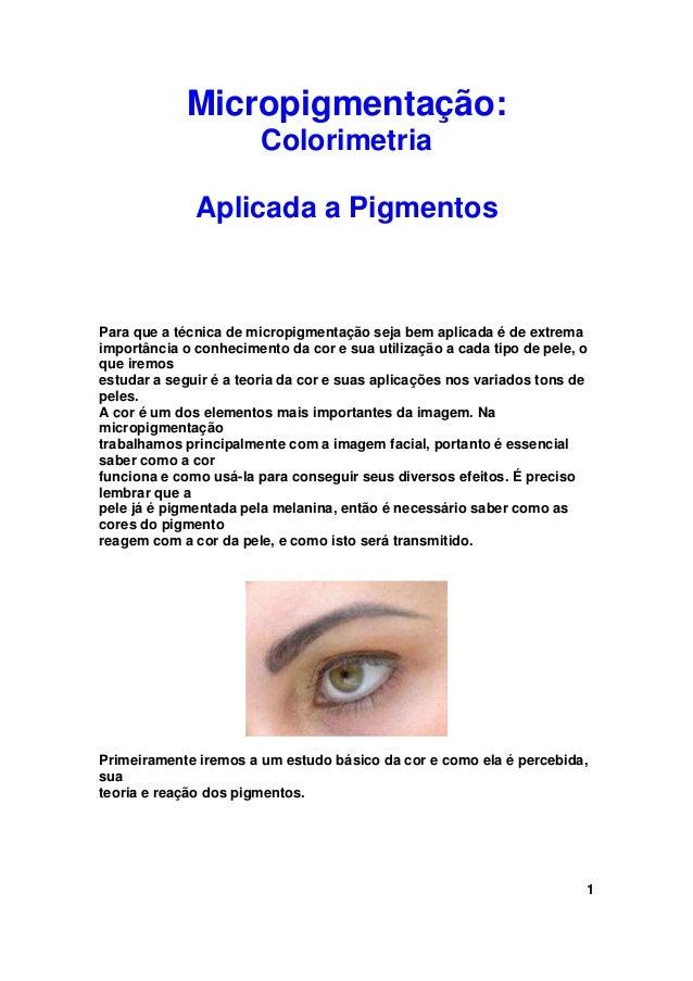 Micropigmentação:                        Colorimetria              Aplicada a PigmentosPara que a técnica de micropigmenta...