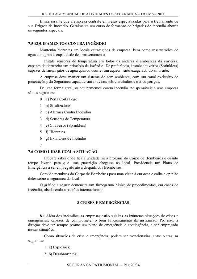 RECICLAGEM ANUAL DE ATIVIDADES DE SEGURANÇA – TRT MS – 2011 É interessante que a empresa contrate empresas especializadas ...