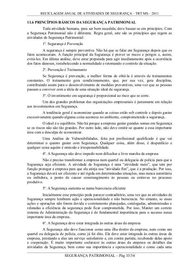 RECICLAGEM ANUAL DE ATIVIDADES DE SEGURANÇA – TRT MS – 2011 11.6 PRINCÍPIOS BÁSICOS DA SEGURANÇA PATRIMONIAL Toda atividad...