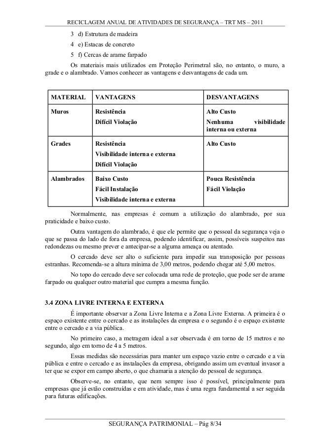 RECICLAGEM ANUAL DE ATIVIDADES DE SEGURANÇA – TRT MS – 2011 3 d) Estrutura de madeira 4 e) Estacas de concreto 5 f) Cercas...