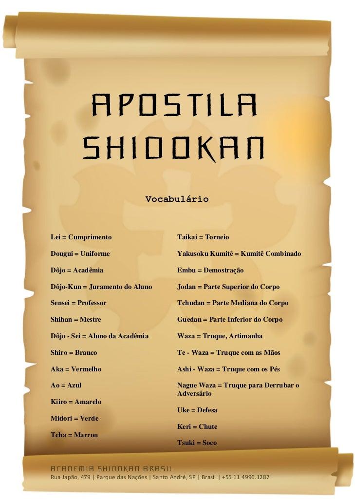 Apostila            Shidokan                                  VocabulárioLei = Cumprimento               ...