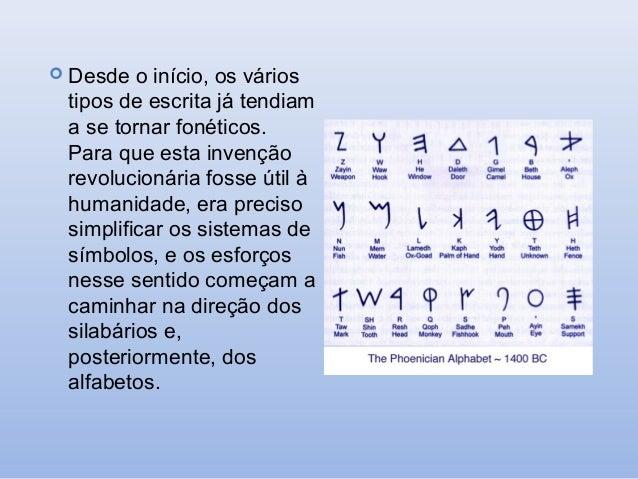  Desde  o início, os vários tipos de escrita já tendiam a se tornar fonéticos. Para que esta invenção revolucionária foss...