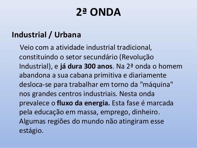 2ª ONDA Industrial / Urbana Veio com a atividade industrial tradicional, constituindo o setor secundário (Revolução Indust...