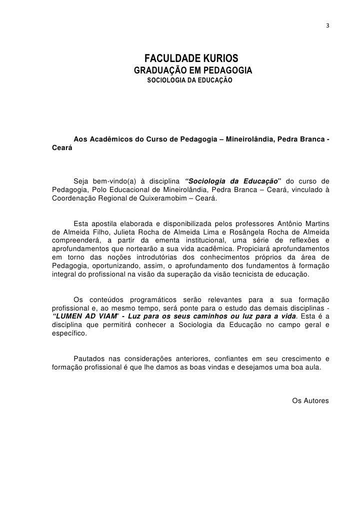 3                           FACULDADE KURIOS                        GRADUAÇÃO EM PEDAGOGIA                            SOCI...