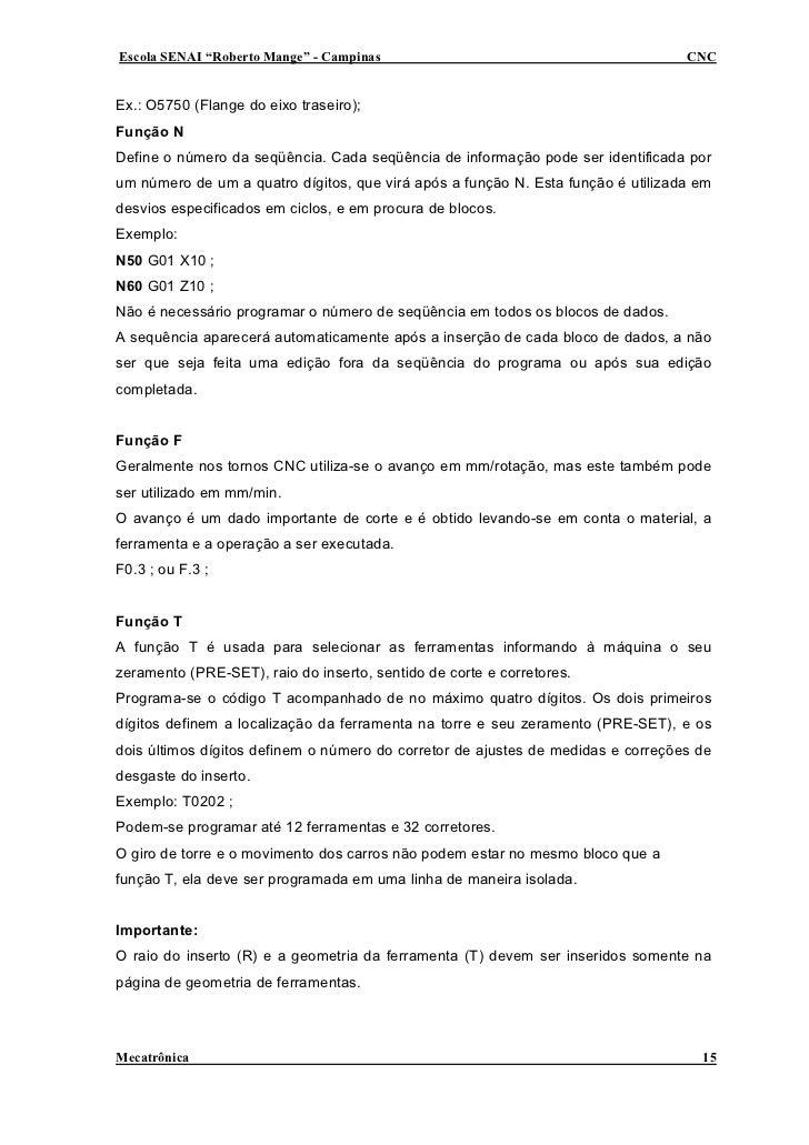 """Escola SENAI """"Roberto Mange"""" - Campinas                                           CNC   Ex.: O5750 (Flange do eixo traseir..."""
