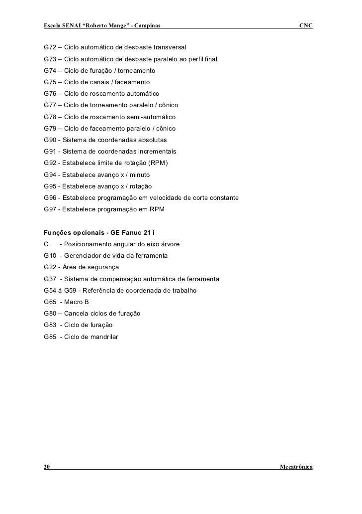 "Escola SENAI ""Roberto Mange"" - Campinas                               CNC   G72 – Ciclo automático de desbaste transversal..."