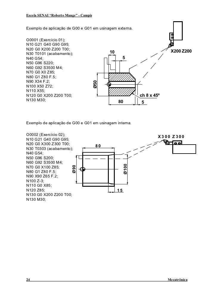"""Escola SENAI """"Roberto Mange"""" - Campinas                                        CNC   Exemplo de aplicação de G00 e G01 em ..."""