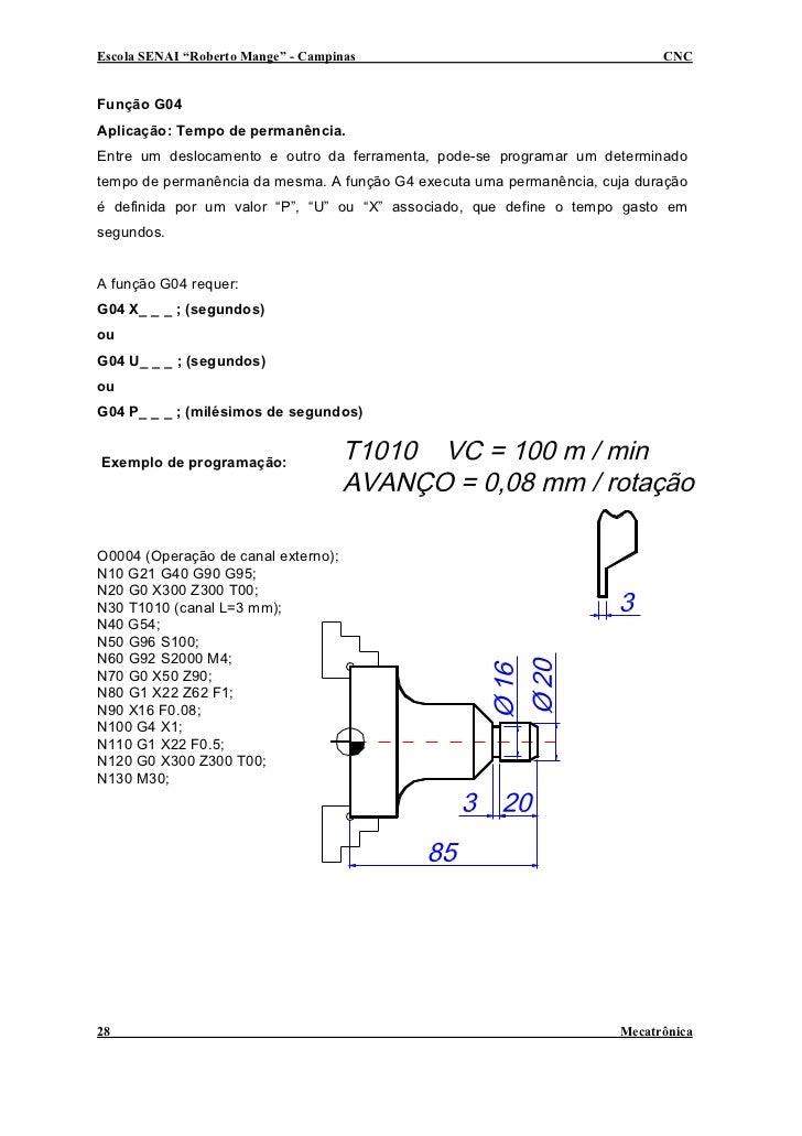 """Escola SENAI """"Roberto Mange"""" - Campinas                                     CNC   Função G04 Aplicação: Tempo de permanênc..."""