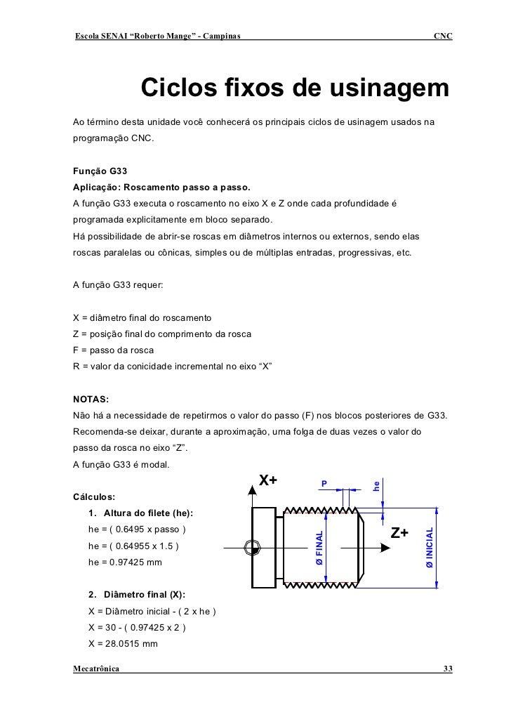 "Escola SENAI ""Roberto Mange"" - Campinas                                                     CNC                     Ciclos..."