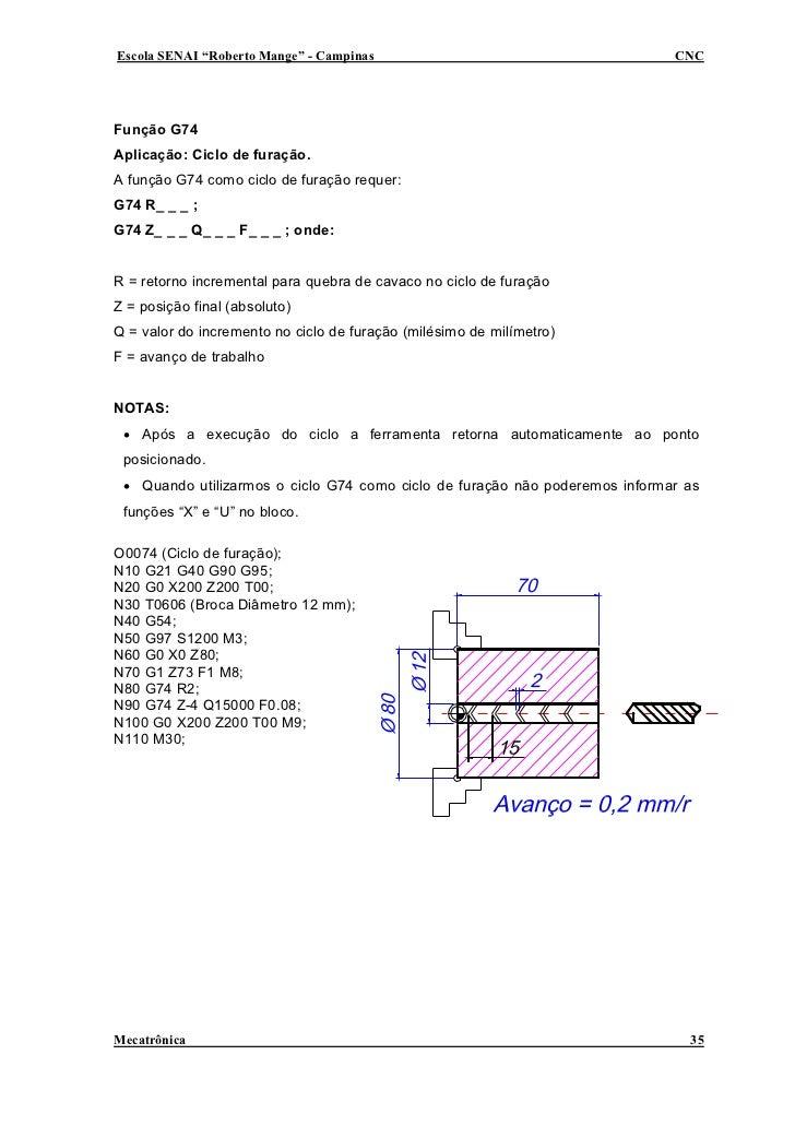 """Escola SENAI """"Roberto Mange"""" - Campinas                                      CNC     Função G74 Aplicação: Ciclo de furaçã..."""