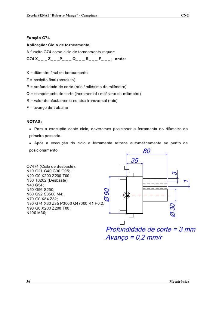 """Escola SENAI """"Roberto Mange"""" - Campinas                                     CNC     Função G74 Aplicação: Ciclo de torneam..."""