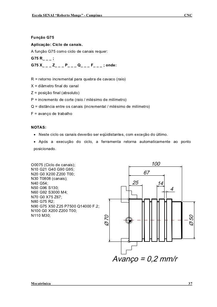 """Escola SENAI """"Roberto Mange"""" - Campinas                                      CNC     Função G75 Aplicação: Ciclo de canais..."""