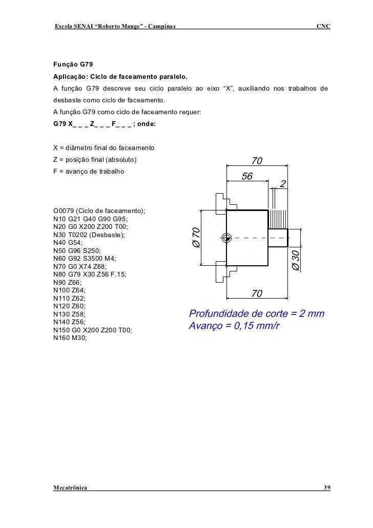 """Escola SENAI """"Roberto Mange"""" - Campinas                                      CNC     Função G79 Aplicação: Ciclo de faceam..."""