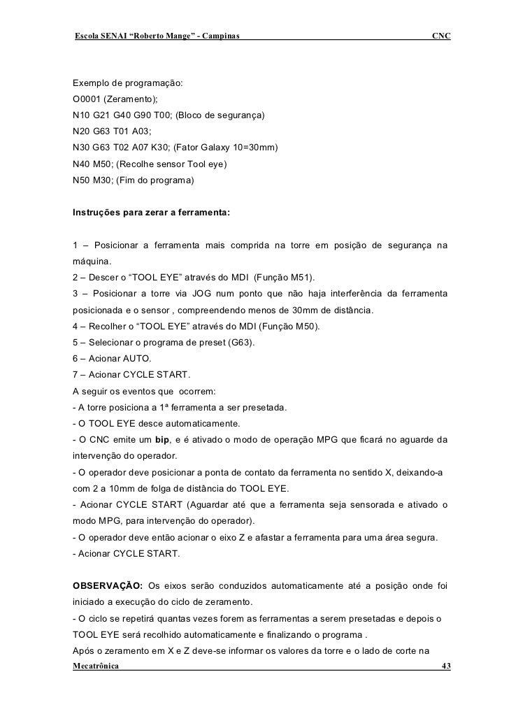 """Escola SENAI """"Roberto Mange"""" - Campinas                                               CNC     Exemplo de programação: O000..."""